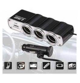 Trojnásobná auto zásuvka + USB adaptér
