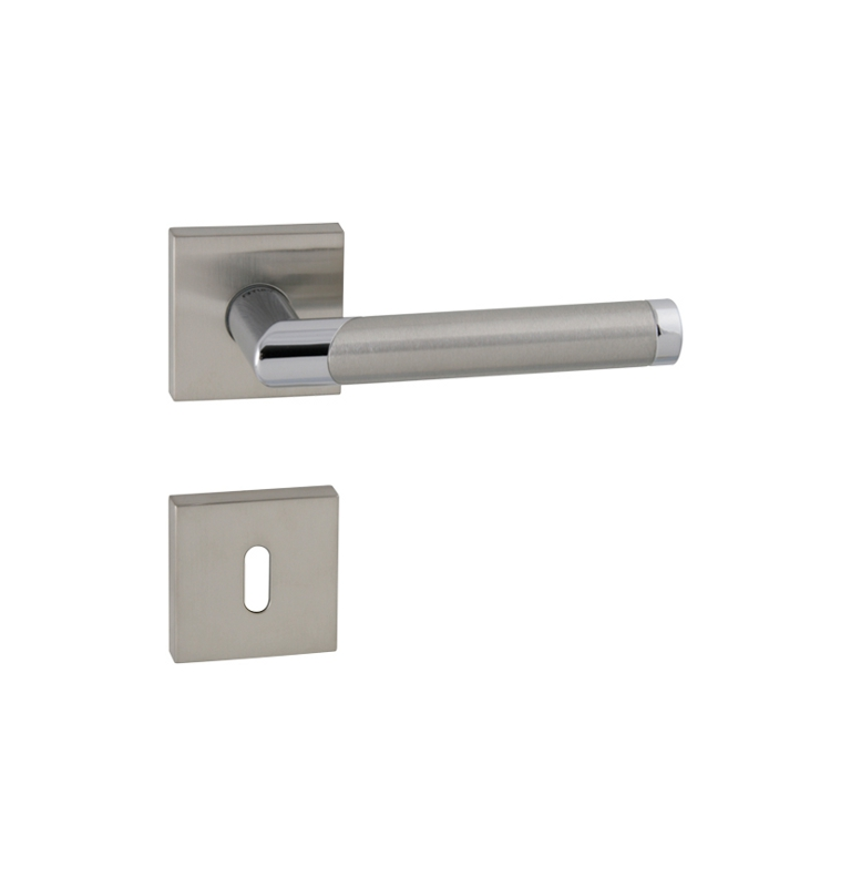 Handle TUPAI DIAGO - HRN 793Q - BN / OC / BN - Brushed stainless steel / polished chrome / brushed stainless steel