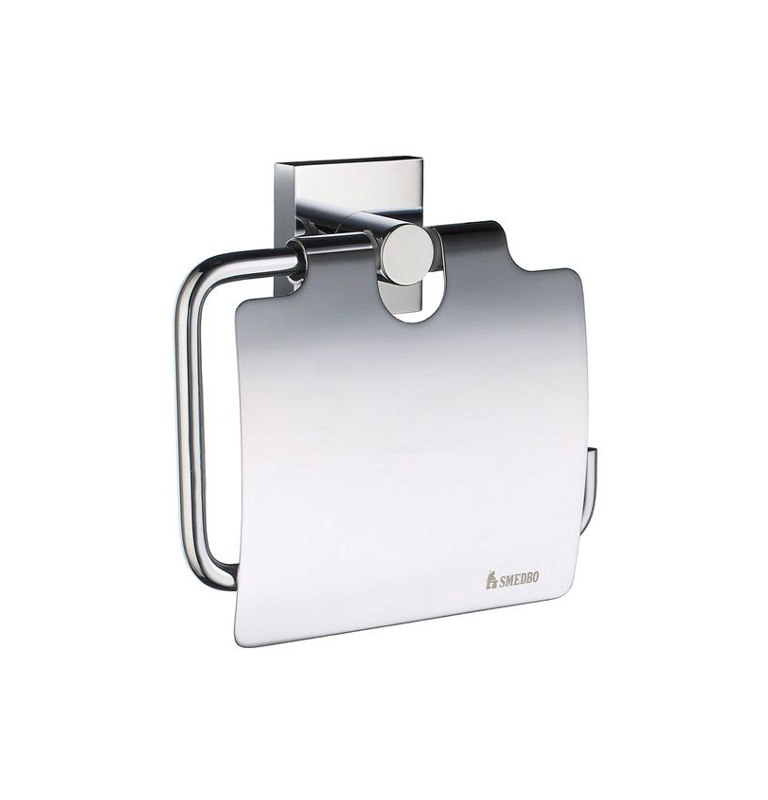 Toilet roll holder with lid SMEDBO HOUSE - Polished chrome
