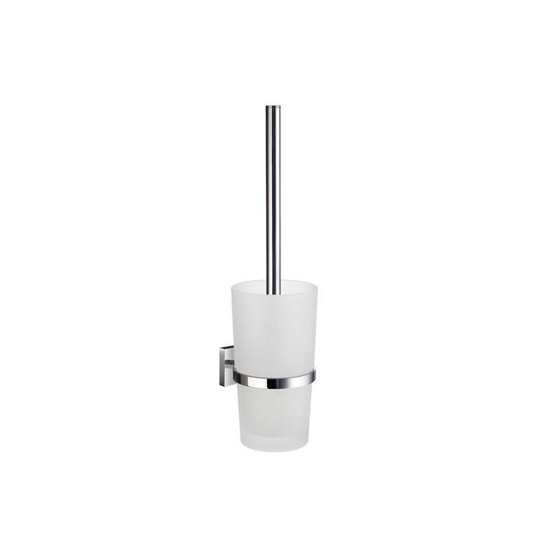 Szczotka do WC z pojemnikiem szklanym SMEDBO HOUSE - Chrom błyszczący