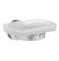 Holder with glass soap dish SMEDBO HOME - Brushed chrome