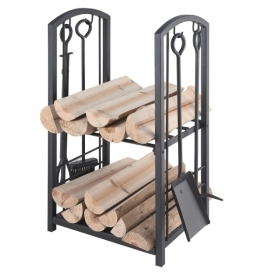 Holzkorb mit Kaminbesteck LIENBACHER 21.00.208.2