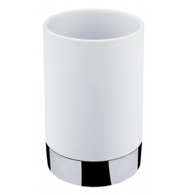 Cup for toothbrushs NIMCO LIO - Polished chrome / white