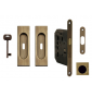 Hranatý set na posuvné dvere FIMET - OGS - Bronz česaný mat