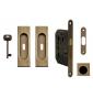 Square set for sliding doors FIMET - OGS - Mate antique brass
