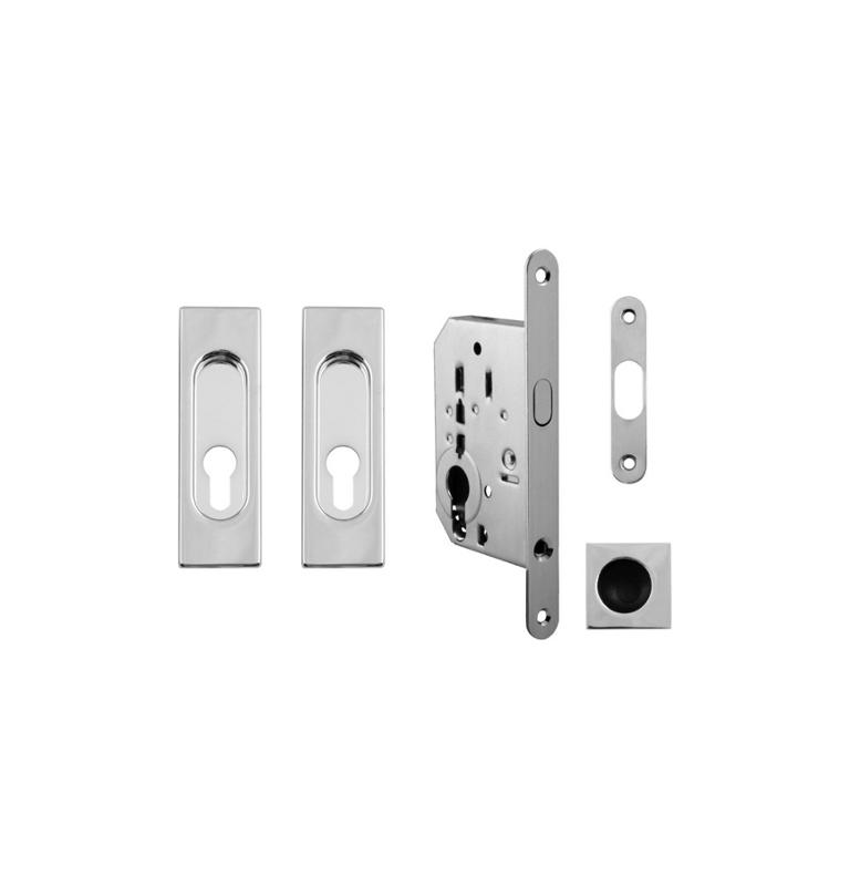 Set na posuvné dvere hranatý FT - OC - Chróm lesklý